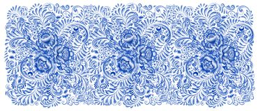 Russisches Malerei gzhel horizontales nahtloses Muster Stockfotografie