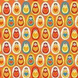 Russisches matryoshka Puppen des nahtlosen des Musters orange Gelbs des blauen Rotes Stockfotos