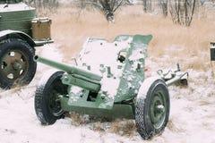 Russisches Panzerabwehr- Gewehr des Sowjet-45mm Es war die Panzerabwehr- hauptsächlichwaffe von rote Armee-Artillerie-Einheiten i lizenzfreies stockfoto