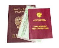 Russisches Pensionszertifikat und Versicherungsnachweis Lizenzfreies Stockfoto