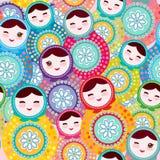 Russisches Puppen matryoshka, rosa blaues grünes Muster der Farbe buntes helles, nahtloses Vektor Stockfoto