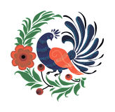 Russisches Symbol ist ein Pfau in den Blumen Stockfoto