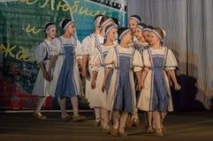 Russisches Volkstanz-Wettbewerb Leben im Tanz in der Stadt von Kondrovo, Kaluga-Region in Russland im Jahre 2016 Stockbilder