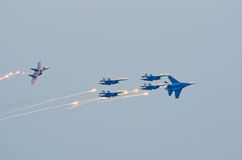Russkie Vityazi break up the formation with flares Stock Photography