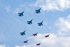 Russkie Vityazi and Strizhi teams fly together Stock Photo
