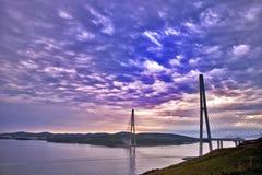Russky Bridge. Clouds over Russky Bridge Vladivostok Russia Royalty Free Stock Image