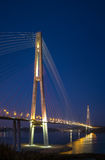 Russky bridge at night. Vertical photo of  famous bridge Royalty Free Stock Images