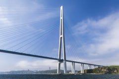 Russky Bridge in Vladivostok, Russia royalty free stock images