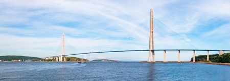 The Russky or Russian bridge to Russky Island is in Vladivostok provides communication with the mainland for university. The Russky or Russian bridge to Russky royalty free stock photos
