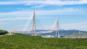The Russky or Russian bridge to Russky Island is in Vladivostok provides communication with the mainland for university. The Russky or Russian bridge to Russky stock photography