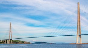 The Russky or Russian bridge to Russky Island is in Vladivostok provides communication with the mainland for university. The Russky or Russian bridge to Russky stock photos