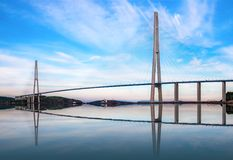 The Russky or Russian bridge to Russky Island is in Vladivostok provides communication with the mainland for university. The Russky or Russian bridge to Russky stock image