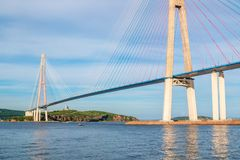 The Russky or Russian bridge to Russky Island is in Vladivostok provides communication with the mainland for university. The Russky or Russian bridge to Russky royalty free stock photo