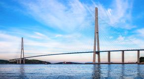The Russky or Russian bridge to Russky Island is in Vladivostok provides communication with the mainland for university. The Russky or Russian bridge to Russky stock images