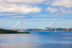 Russky Russian Bridge, Vladivostok. The Russky or Russian Bridge is a bridge across the Eastern Bosphorus strait, to serve the Asia-Pacific Economic Cooperation royalty free stock image