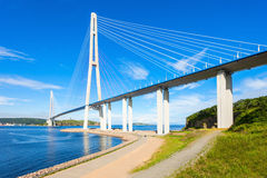 Russky Russian Bridge, Vladivostok. The Russky or Russian Bridge is a bridge across the Eastern Bosphorus strait, to serve the Asia-Pacific Economic Cooperation stock photo