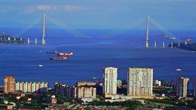 Russkybrug in Vladivostok-stad stock footage