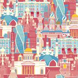 Russland-Architekturvektormuster Nahtloser Hintergrund des russischen Symbols stockbilder