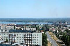 Russland-Art auf der Stadt von Wolgagrad von der Höhe Stockbilder