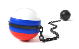 Russland band an einem Klotz am Bein Stockfotos