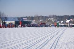 Russland Berezniki am 11. März 2018: Männer ` s und Frauen ` s 10 Kilometer-Sprint an den Winter Olympics Lizenzfreie Stockbilder