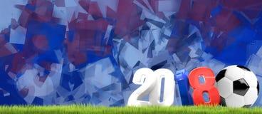 Russland 2018 3D übertragen Symbolfußball Lizenzfreie Stockbilder
