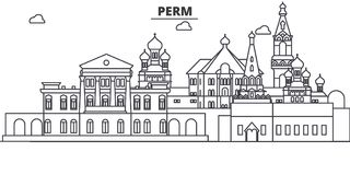 Russland, Dauerwellearchitekturlinie Skylineillustration r stock abbildung