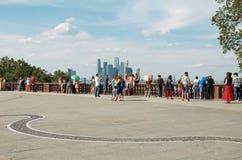 Russland Die Aussichtsplattform auf den Spatzen-Hügeln in Moskau 20. Juni 2016 Lizenzfreies Stockbild