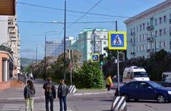 Russland Die Stadt von Murmansk Lenin-Allee Stockfotos