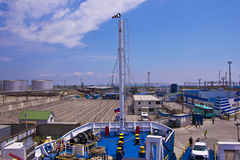 Russland, eine Fähre auf dem Meer Stockbilder