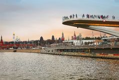 Russland, ` Floßbrücke ` in Moskau Lizenzfreie Stockbilder