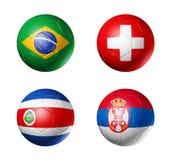 Russland-Fußball Flaggen 2018 Gruppe E auf Fußbällen lizenzfreie abbildung