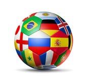 Russland 2018 Fußballfußball mit Teamstaatsflaggen auf wh lizenzfreie abbildung