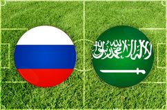 Russland gegen Saudi-Arabien Fußballspiel Stockfoto
