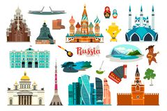 Russland-Ikonensatz, flache Karikaturartikone Russisches Symbol stockfoto