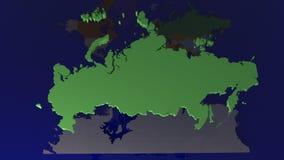 Russland-Karte über Weltkarte stock abbildung