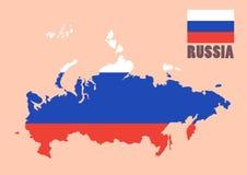 Russland-Karte mit Flaggenhintergrund Stockbild