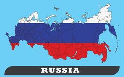 Russland-Karte und Russland-Flagge lizenzfreie abbildung