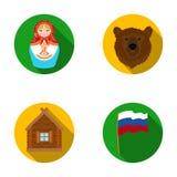 Russland, Land, Nation, matryoshka Vector gesetzte Sammlungsikonen Russland-Landes in der flachen Art Illustration des Symbols au Stockbild