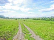 Russland, Landschaft, Straße auf einem Gebiet Lizenzfreie Stockfotos
