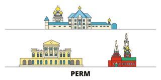 Russland, Markstein-Vektorillustration der Dauerwelle flache Russland, Dauerwellelinie Stadt mit berühmtem Reiseanblick, Skyline, vektor abbildung