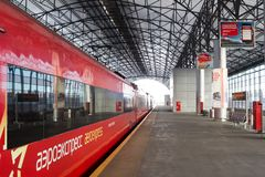 Russland, Moskau: Aeroexpress von Bahnhof Belorussky zu S Stockbild