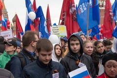 05/01/2015 Russland, Moskau Demonstration auf rotem Quadrat Arbeitsda Stockbild