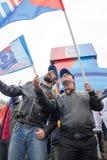 05/01/2015 Russland, Moskau Demonstration auf rotem Quadrat Arbeitsda Lizenzfreie Stockbilder