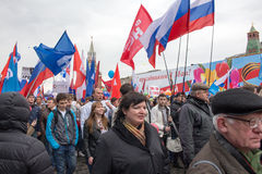 05/01/2015 Russland, Moskau Demonstration auf rotem Quadrat Arbeitsda Lizenzfreie Stockfotografie