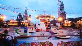 Russland, Moskau - Januar, 26 2017: Die Luna Park des neuen Jahres in Moskau auf dem Roten Platz stock video footage