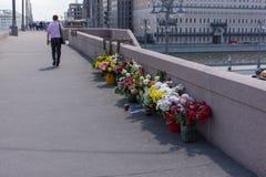 RUSSLAND, MOSKAU, AM 8. JUNI 2017: Denkmal zu Boris Nemtsov auf Brücke Bolshoy Moskvoretsky Stockfoto
