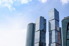 RUSSLAND, MOSKAU - 30. Juni 2017: Internationales Geschäftszentrum Wolkenkratzergebäude Moskau-Stadt-Moskaus - ein modernes Hande Stockbilder