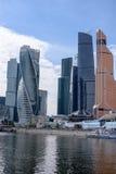 RUSSLAND, MOSKAU - 30. Juni 2017: Internationales Geschäftszentrum Wolkenkratzergebäude Moskau-Stadt-Moskaus - ein modernes Hande Lizenzfreies Stockbild