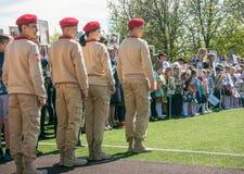 Russland, Moskau, kann, 07 2018: Die ` junges Armee ` Militärbewegung ` s Kadetten, nehmend am Schulernsten Ereignis am Siegtag t stockbild
